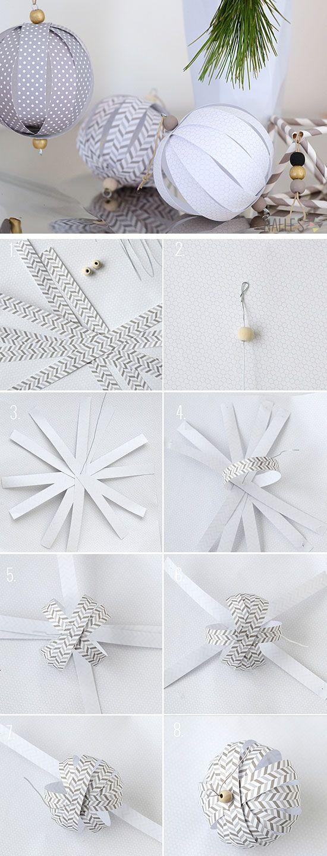 Papel de bricolaje de bolas Adornos |  Haga clic para 28 DIY facil decoraciones de Navidad para Home |  DIY facil Adornos Casera
