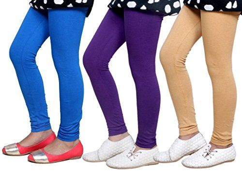 Indistar Girls Super Soft Ankle Length Cotton Lycra Leggings /_White::Yellow Pack of 2
