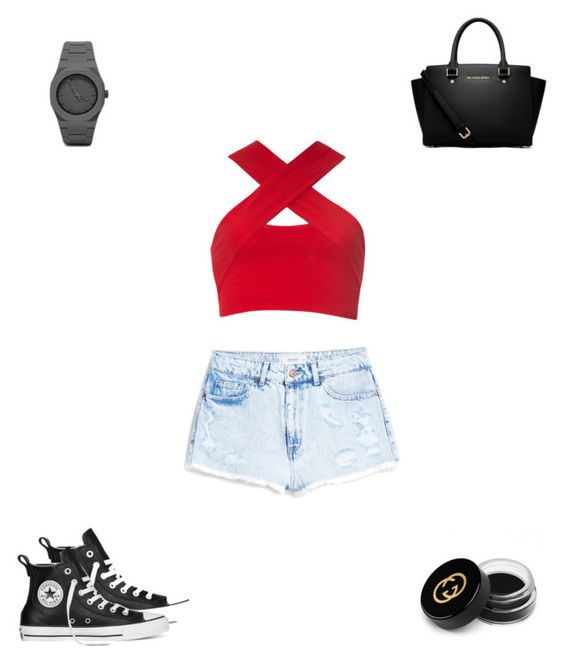 """""""Untitled #2638"""" by webbgyrl2000 ❤ liked on Polyvore featuring Motel, MANGO, Converse, MICHAEL Michael Kors, CC and Gucci"""