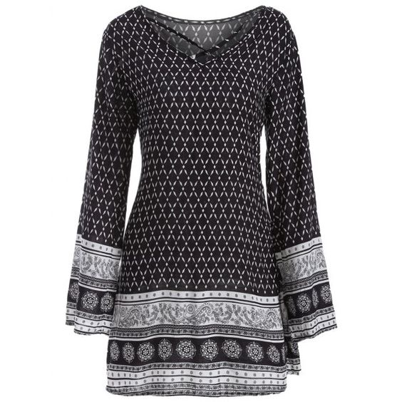 Long Sleeve Strappy Print Dress, BLACK, XL in Print Dresses | DressLily.com