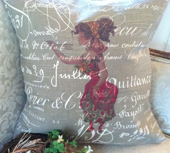 Pillow Cover French Script and Burlap Gypsy b