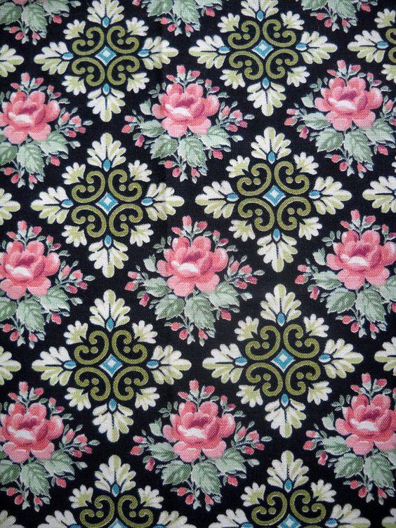Vintage Fabric, Floral Design.: