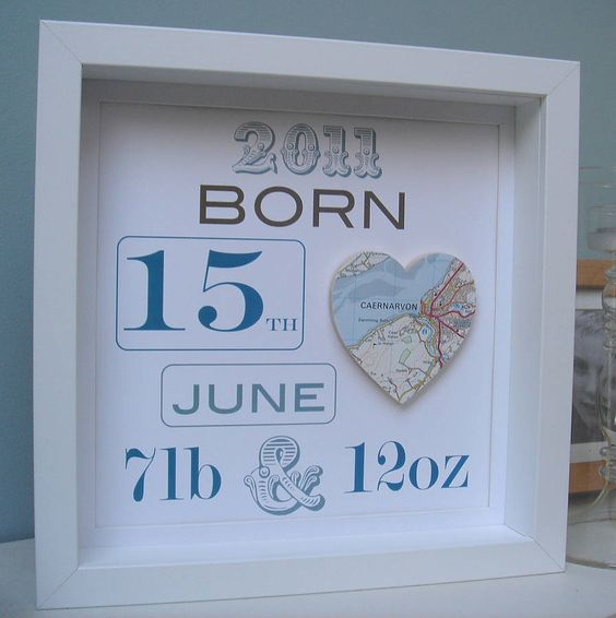 Shadow box with a heart shaped map of where they were born... This would be a cute gift, you can buy the letters and frame and the mommy can put it together after the baby is born!