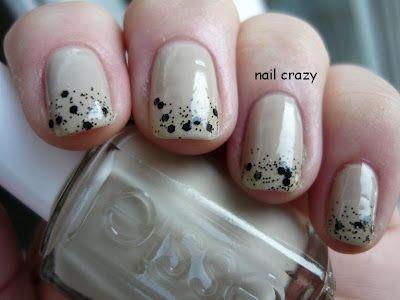 Black polka dot  and nude mani