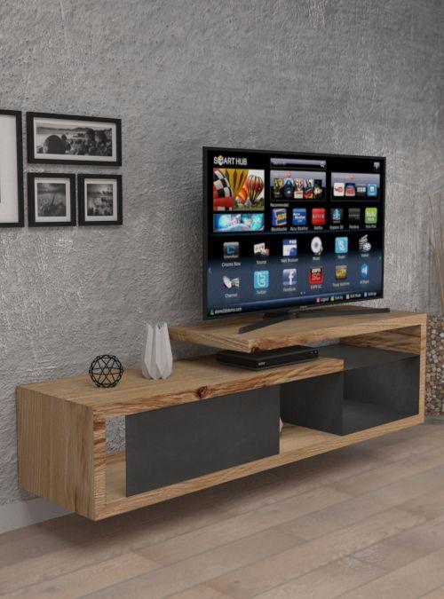Mobile porta TV in legno e ferro sospeso JESSY - #mobiletv ...