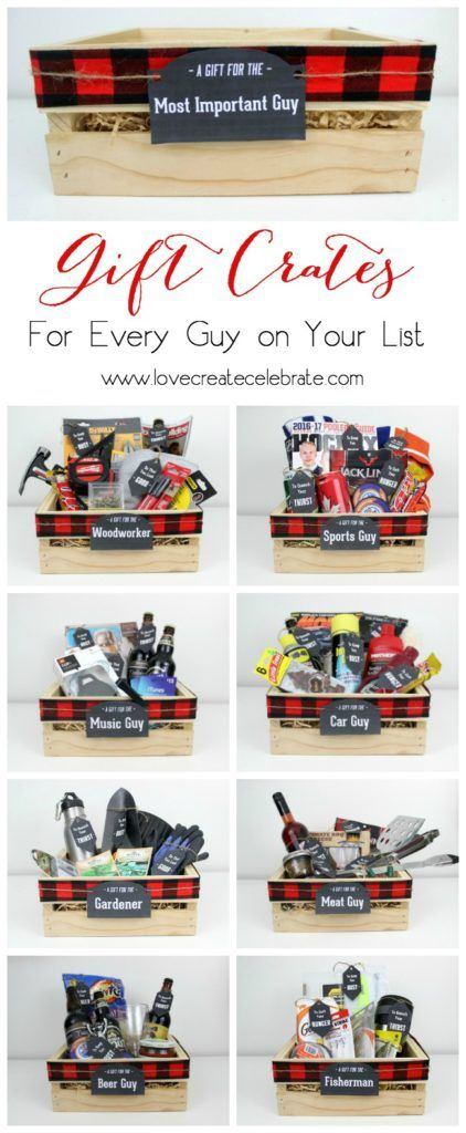 DIY Gift Crates aka Gift Basket Ideas for Men and Boys via Love Create Celebrate - Instead of gift baskets, why not opt for the more manly Gift Crates for guys?! The perfect crate for any guy on your list, plus an amazing list of suggestions! #giftsformen #giftsforhim #giftsforboys #diygiftsformen #diygiftsforhim #diygiftsforboys #boyfriendgifts #husbandgifts #birthdaygiftsforhim #diybirthdaygiftsforhim
