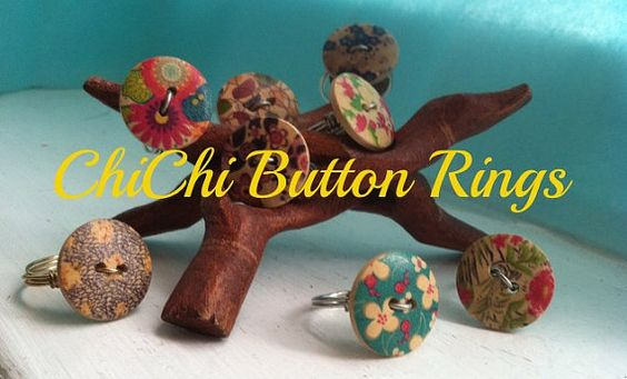 Fun ChiChi Button Rings  by MatildaMarie on Etsy, $5.00