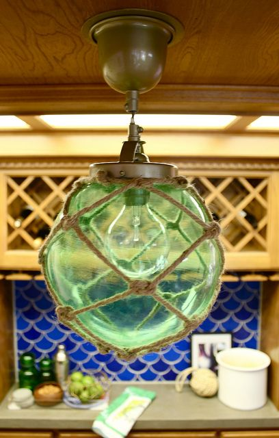 pottery barn teen inspired beach glass fishing float pendant light, Reel Combo