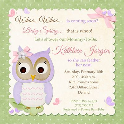baby girl shower christian invitations | Butterfly Owl Baby Shower Invitation - Pastel Card Whoo