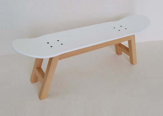 Deco Diy Lampe Chemise Originale : Skateboard stool or bench nordic white gift for the play room