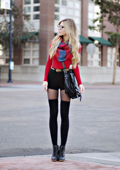 socks- american apparel, boot- urban outfitters, glasses- dita, scarf- urban outfitters, bodysuit- american apparel, belt- vintage, bag- ps1, shorts- american apparel