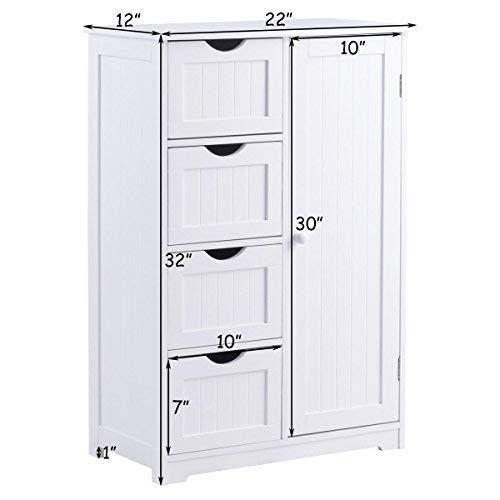 Giantex Bathroom Floor Cabinet Wooden 1 Door 4 Drawer Free Standing Wooden Entryway Cupboard Spacesaver Cabinet White Cupboard Storage Storage Cabinets Bathroom Storage Cabinet