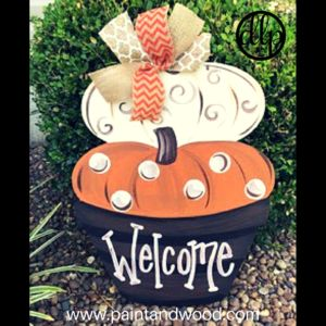 Fall Pumpkin Topiary Door Hanger Decor