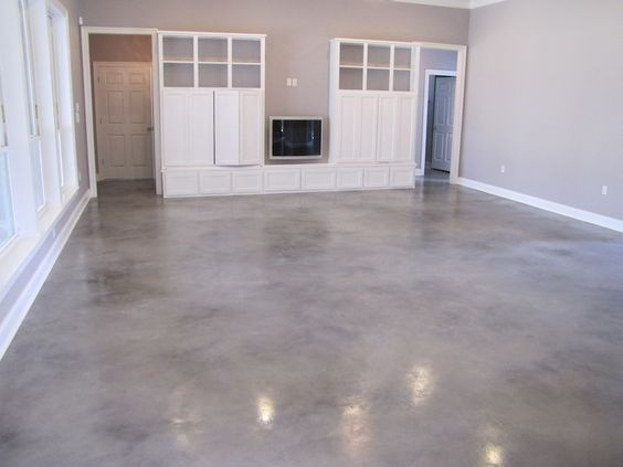Grey stained concrete floors gray and white stained for Concrete floors in house