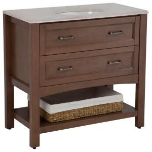Home Decorators Collection Abbey 36 1 2 In Vanity In Toffee With Stone Effects Vanity Top In