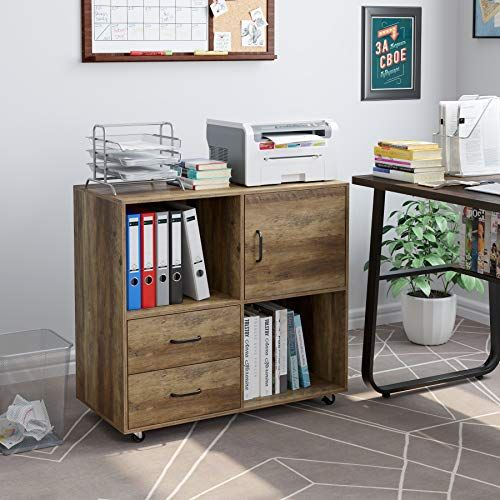 Homecho 2 Drawers Mobile File Cabinet Office Lateral Filing Cabinet With Wheels Printer Stand With Open Storage She In 2020 Printer Stand Filing Cabinet Open Storage