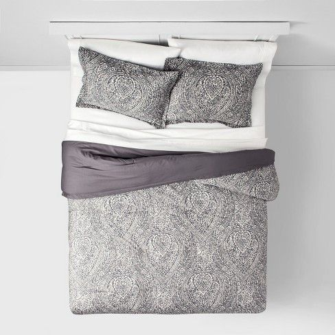 Paisley Ogee Comforter Set Gray Threshold With Images Grey