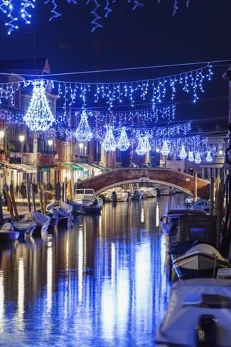 Photographic Print: Christmas Decorations Reflected in a Canal, Murano, Venice, Veneto, Italy by Christian Kober : 24x16in