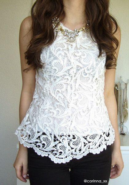 Crochet Lace Tank - White - corinna_xx