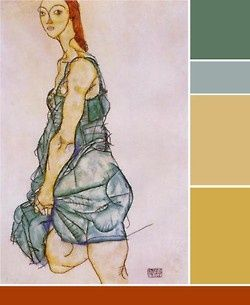 Egon Schiele - Upright standing woman; 1912