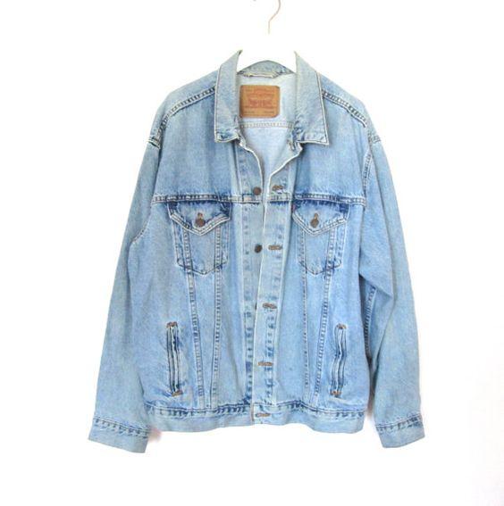 90's Grunge Levi's Denim Jacket size XL por NightAfterNight