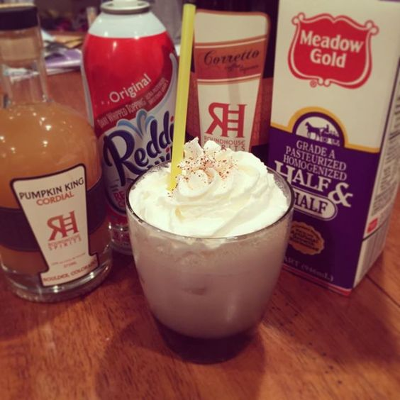 Make your own Pumpkinogg! 1.5oz of Pumpkin King Cordial, 1oz of Corretto Coffee Liqueur, 2oz half and half, and nutmeg. Shake and top with whipped cream!