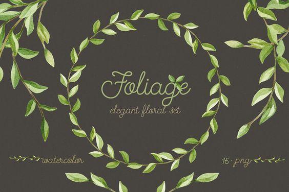 Foliage. Elegant floral set by NataliVA on Creative Market