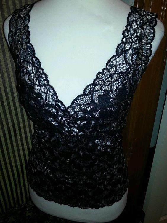 White House Black Market Ladies Lace Tank Top Black on Ivory SZ S Empire Waist #WhiteHouseBlackMarket #TankCami #Clubwear