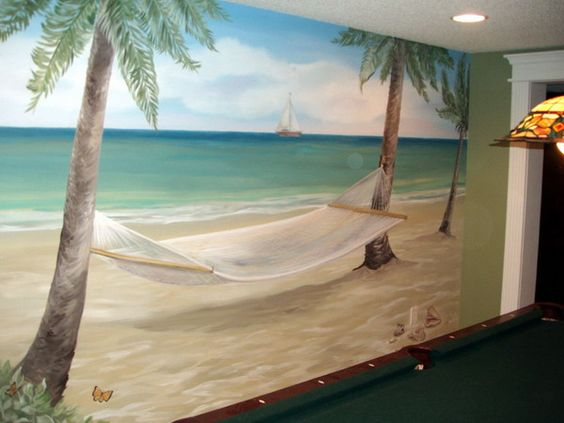 Cool tropical wall murals art for home desgn picture for Beach mural painting