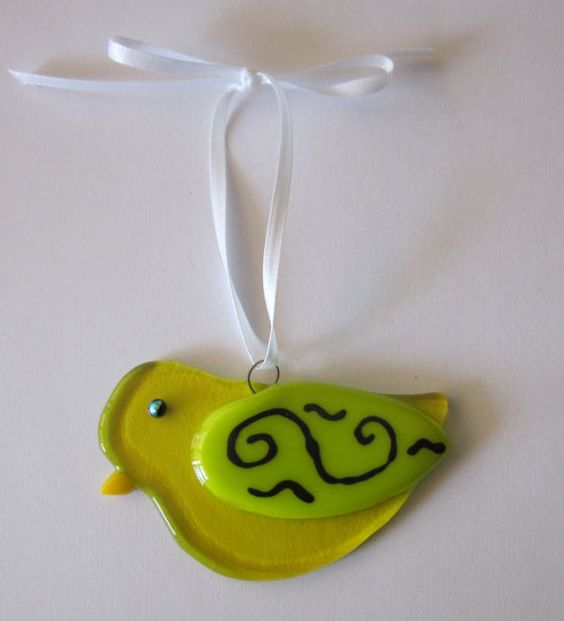 Fused Glass Bird Ornament by outofourgourds on Etsy, $10.00