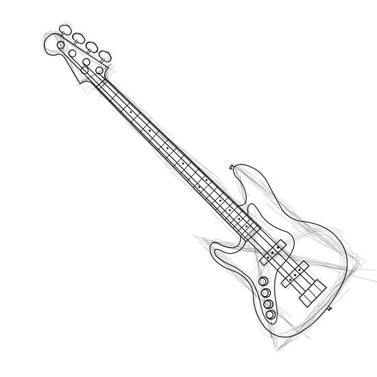 How to Draw a Bass Guitar | Bass Guitars and Guitar