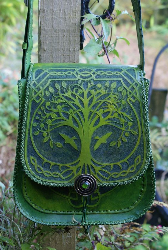 Ornately hand carved messenger bag with Tree Of Life and Ivy Green Man pocket panels