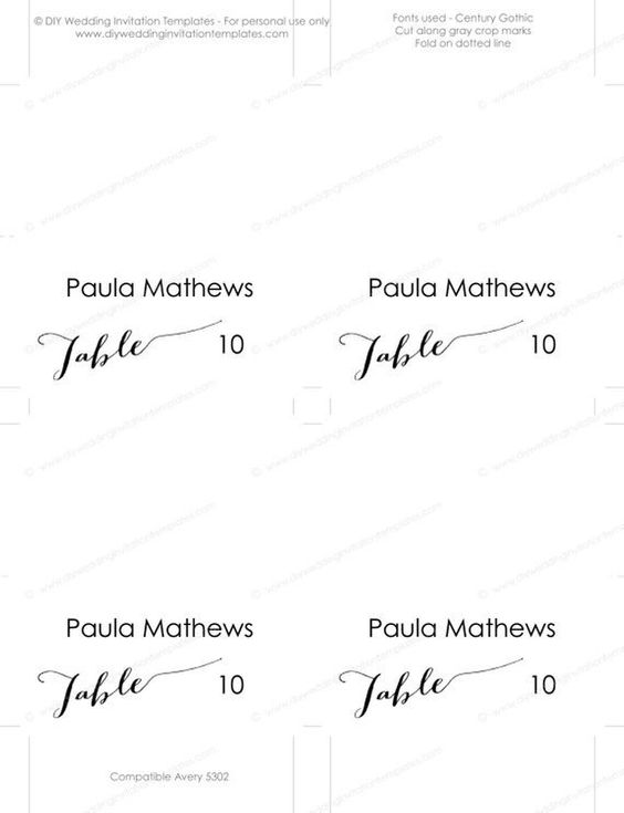Avery Tent Cards Templates 5302 Awesome Place Card Template Modern Calligraphy Scri Place Card Template Wedding Name Cards Wedding Invitation Wording Templates