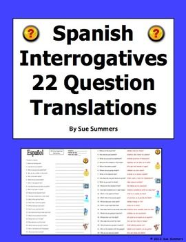 Interrogatives Words Sentences - Spanish Questions Words Worksheet ...