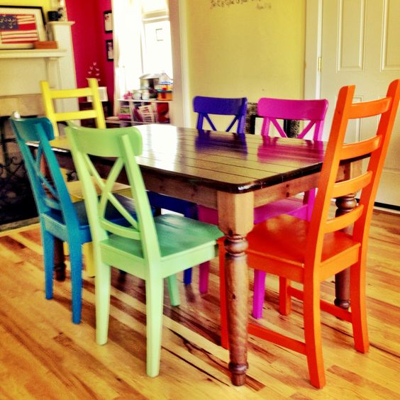 Rustoleum spray-painted chairs - these remind me of all the colored benches at the state fair  :)