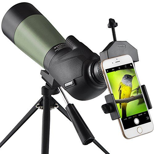 Gosky 20 60x60 Hd Spotting Scope With Tripod Carrying Bag And Scope Phone Adapter Bak4 45 Degree Angled Eyepiece Telescope For Target Shooting Hunting Bird W Phone Adapters Spotting Scopes Camera Photo