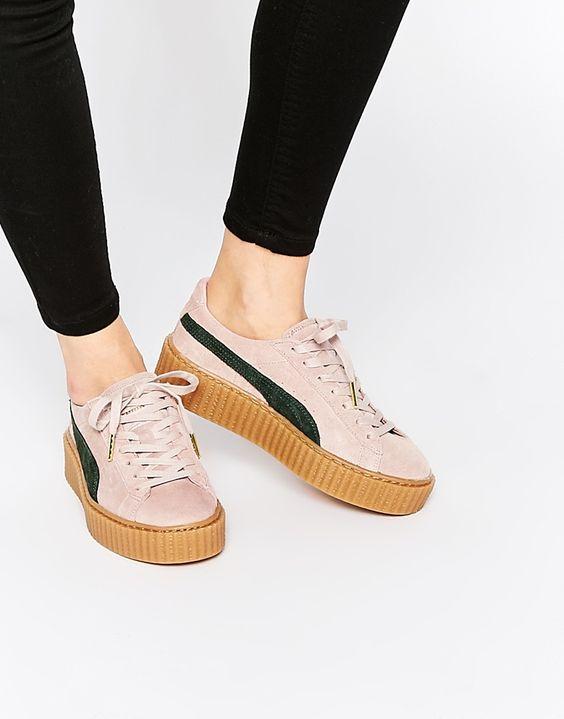 Chaussures, Rihanna Corail, Pumas Par Rihanna, Je Les Veux, Favori, Creeper Trainers, Puma Creeper, Suede Creeper, Creeper Sneakers
