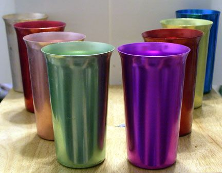 1950s aluminum tumblers.  Would make your hands freeze trying to hold them.