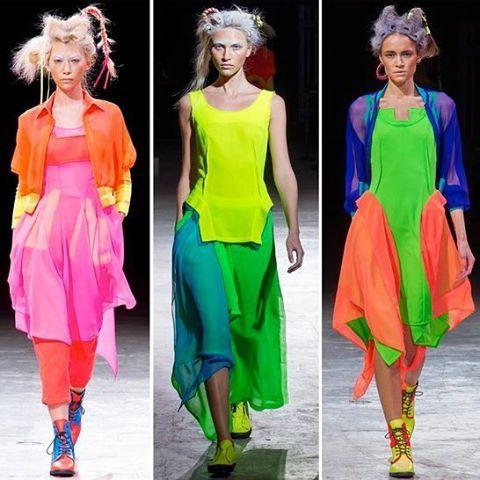 Oooh. I love all three! Yohji Yamamoto. #yohjiyamamoto #fashion #fashionista #designer #hautecouture #unusual #colorful #luxe #glam #pink #fashiondetails #bright #colors #colorblocking #colours #layers
