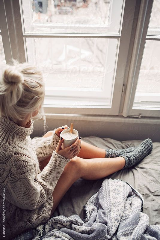 Blonde Woman Drinking Morning Coffee in Bed  by lumina | Stocksy United: