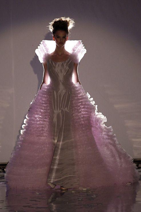 Dramatic pink wedding dress from david fielden 2011 for David fielden wedding dresses
