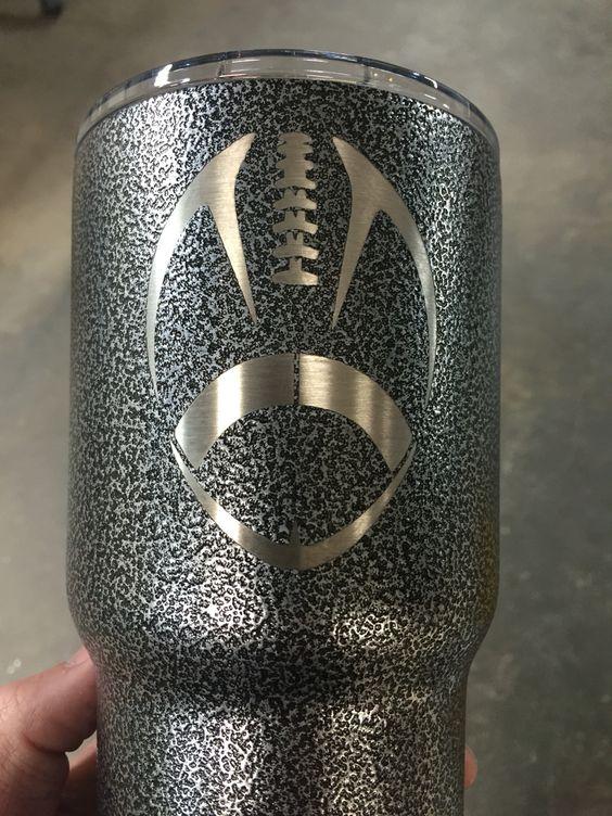 Football On Silver Texture Powder Coat 30 Oz Yeti Rambler