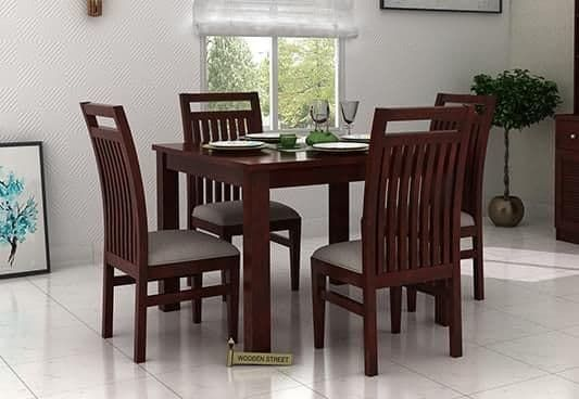 Hasbro 4 Seater Dining Set Mahogany Finish Dinning Table Design Dining Table Setting Dining Table