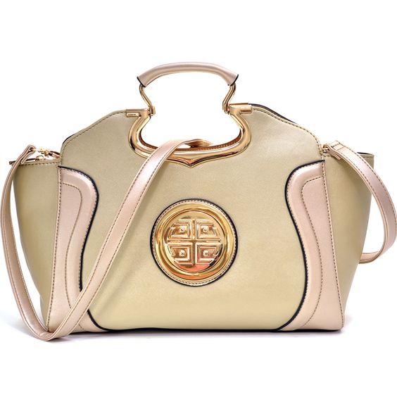 Dasein Drop Handle Raised Stitch Winged Handbag with Removable Shoulder Strap