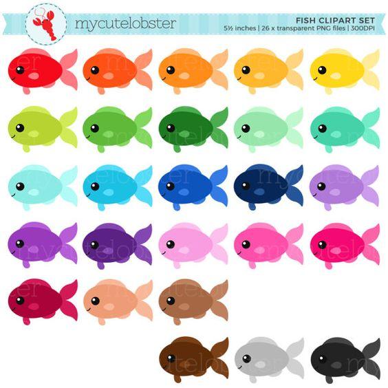 Rainbow Fish Clipart Set Clip Art Set Of Fish Cute Fish Etsy Desenho De Peixe Colorido Festa Do Bob Esponja Imagem De Peixe