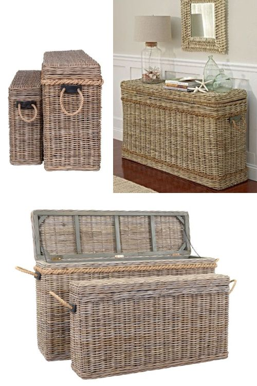 Wicker Rattan Storage Trunks Chests As Tables Decorative Furniture Accent Pieces Decor Florida Home Decorating Furniture Decor