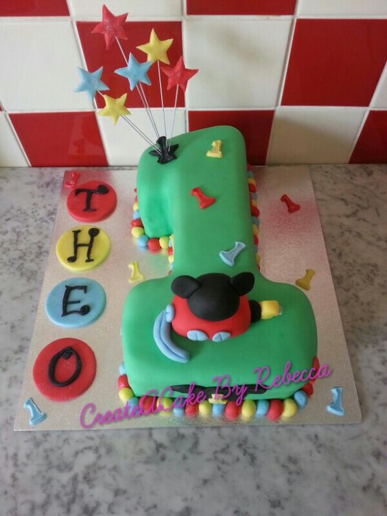 Mickey Mouse Clubhouse themed number 1 cake made by Create~A~Cake By Rebecca. ....find us on Facebook x