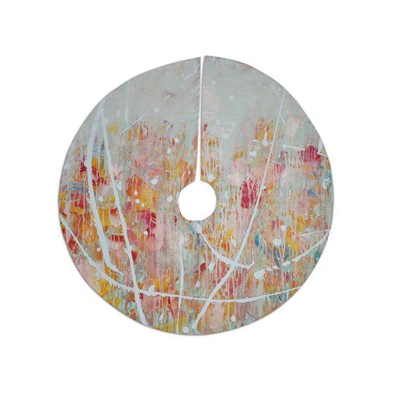 "Iris Lehnhardt ""Joy"" Splatter Paint Christmas Tree Skirt"