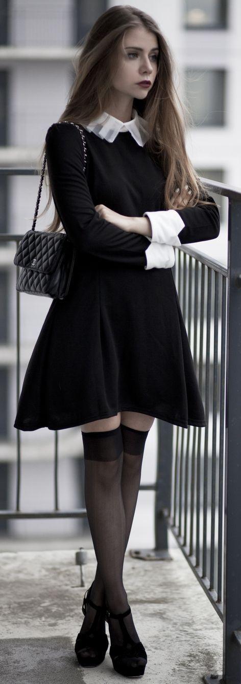 Acid Coke Black And White Romantic Drama Outfit Idea: