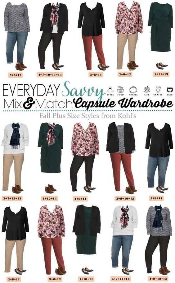 Check out these super cute fall plus size outfits from Kohls. The pieces mix and match for 15 outfits that make a mini capsule wardrobe. O love the hunter green dress, booties and floral top.  via @everydaysavvy
